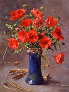Anne Cotterill (British, 1933-2010) - Poppies in a Blue Vase