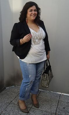 plus size top with  black blazer and jeans