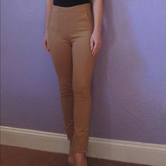 ZAC POSEN  $395 nude high waist skinny pant SEXY!! Zac Posen zspoke high waisted skinny jersey pants with zippers. Gorgeous tan-nude color. Jersey/ponte material with tons of stretch. Zippers at both hips and ankles. Front pockets (these lay flat, they don't add bulk. These pants have a really sexy, streamlined silhouette). Size xs. Across the waist 13 in, hip 14.5, rise 10, inseam 29.5. $395 from saks. Worn once. These are soooo beautiful and easy to wear!! I hate to give them up but they…