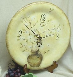 Pussy Willow in Brown Vase Theme Clock – Upcycled Plate Wall Clock,# C6019, (Stand is Display Only) by ckdesignsforyou. Explore more products on http://ckdesignsforyou.etsy.com