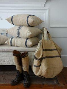 heavy linen pillows ~ from Chez Zoe