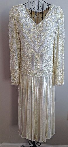 Vintage 100% Silk Sequin Beaded Faux Pearl Dress Ivory Formal Bridal Lined Med #Unbranded