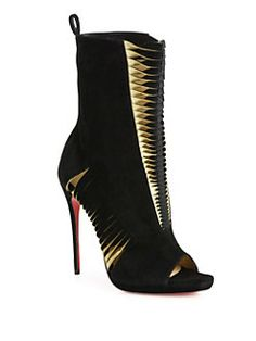 Christian Louboutin - Miss Circus Suede Peep-Toe Booties