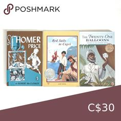 Set of 3 Home School Classic Books ages 8 - 10 Homer Price  The hilarious adventures of a small town boy in middle America during the early '50s.  Red Sails to Capri The mountainous island has a mystery and it takes the innkeeper's son, Michele, and three foreigners to get to the bottom of it.  The Twenty One Balloons Utopian tale with great illustrations.  An inventive scientist lands on Krakatoa only days before the volcano blows. Other