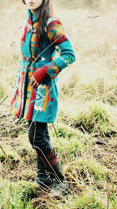 Shawl Collar Navajo Pendleton Blanket Coat & boots                                                                                                                                                      More