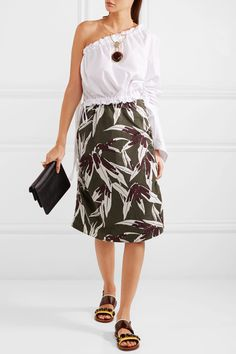 Marni | Ruched printed cotton and linen-blend skirt | NET-A-PORTER.COM