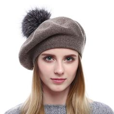 ef2f4c6dbec Women Wool Beret - Real Silver Fox Fur Pom Pom Beanies Winter Knit Cashmere  Hats Review