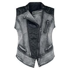 Materialmix - Weste von Black Premium:  - gesteppte Einsätze auf Schultern, Vorderteil und Rücken aus 100% Polyurethan - schräger Reißverschluß  - kleine Ziertasche mit Reißverschluss auf der Brust - zwei Eingrifftaschen mit Nietenbesatz - Vintage Waschung - viele Ziernähte  Erstklassigen Biker-Charme vermittelt die Biker Style Vest von Black Premium by EMP. Echte Rockerbräute wissen von der Vintage Waschung über den schrägen Reißverschluss bis zu den gesteppten Einsätzen auf den Schultern…