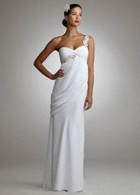 Soft chiffon shapes this single shoulder goddess-like gown for a look that is truly breathtaking.  Delicate silver and clear beaded floral embroidery adorn the single shoulder bodice and empire waist.  Full length skirt is accented with a stunning side drape.  Chiffon fabric cascades to create a slim silhouette.  Fully lined. Invisible size zipper. Imported polyester. Dry clean only.  Available in white or ivory. To protect your dress, try our Non Woven Garment Bag.