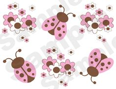 PINK BROWN LADYBUG WALL BORDER DECALS BABY GIRL NURSERY KIDS ROOM STICKERS DECOR