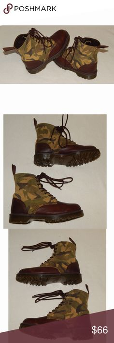DR. MARTENS Wilder Camo Camouflage Leather Boots Rare Mens 8 Womens 9 EU 41 DOC DR. MARTENS Wilder Camo Camouflage Leather Lace Up Boots.  Excellent condition with very light use. From smoke-free and pet-free home.  Heel Height:Low (3/4 in. to 1 1/2 in.) Style:Boots Material:Leather US Shoe Size (Women's):9 Pattern:Camouflage Color:Multi-Color Occasion:Casual Heel Type:Block Fastening:Lace Up Dr. Martens Shoes Ankle Boots & Booties
