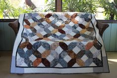 """NEW!! Gray and Brown Batik X's and O's Handmade Patchwork Throw Quilt 52"""" x 62"""""""