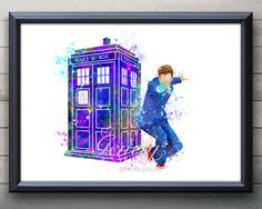 Doctor Who 10th Doctor David Tennant Tardis Watercolor Painting Art Poster Print Wall Decor https://www.etsy.com/shop/genefyprints