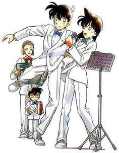 Shinichi x Ran  with Sonoko & Conan on the background