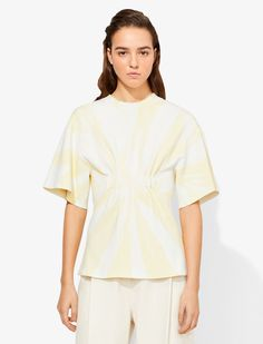 PALE YELLOW/WHITE Synthetic->viscose Tie Dye Knit Ruched Top from Proenza Schouler. Proenza Schouler, Fitness Models, Ready To Wear, Tie Dye, Short Sleeves, Ruffle Blouse, Knitting, How To Wear, Yellow