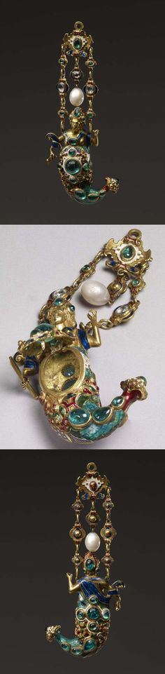 Pendant jewel; gold; set with cabochon emeralds and rose diamonds; form of mermaid wearing mantle on chest and holding comb in right hand; lower part chased in bold relief, enamelled and set with emeralds; hinged lid in middle; jewel suspended by double chain formed of quatrefoils, escutcheon at top from which hangs an oval pearl. 16th century (?), 19th century (probably), Spain, Italy or Germany, Length: 13 cm (max) Length: 7.3 cm (mermaid) Width: 5 cm (max)