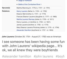 Wikipedia has feelings about John Laurens and Alexander Hamilton