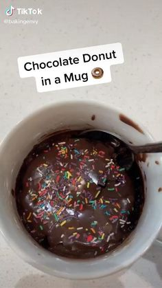 Mug Recipes, Easy Baking Recipes, Sweet Recipes, Dessert Recipes, Cooking Recipes, Snacks Recipes, Kreative Desserts, Starbucks Recipes, Chocolate Donuts