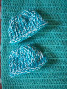 preemie+aqua+crochet+blanket+plus+2+white+and+blue+knitted+winter+hat+handmade