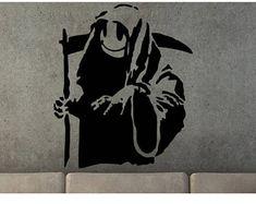 Banksy decal Banksy grim reaper Banksy decor Banksy art Banksy wall art Street art Banksy Banksy stencil Banksy street art decor