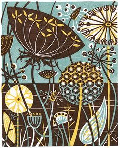 Clifftop IV - wood engraving by Angie Lewin