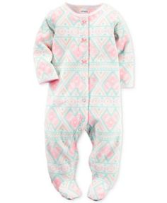 Carter's Baby Microfleece Girls' Aztec-Print Footed Coverall
