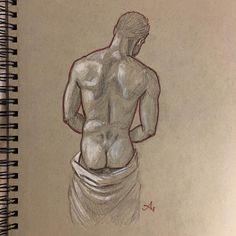 Anton Uhl (@artofanton) • Instagram photos and videos Red Pencil, White Towels, Male Figure, Gay Art, Anton, Erotic Art, Figurative Art, Photo And Video, Drawings