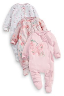 Three Pack Pink Butterfly And Floral Sleepsuits (0mths-2yrs)