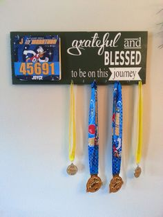 Race bib running medal holder and display Running Bibs, Running Medals, Race Medal Displays, Race Bibs, Medal Holders, Running Accessories, Display Boards, Exercise Clothes, Crafts For Kids