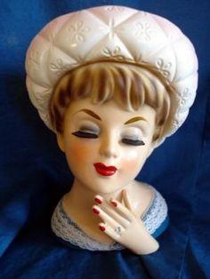 60's Lady Head Vase Vintage Vases, Vintage Pottery, Vintage Ceramic, Head Planters, Antique Glassware, Ceramic Vase, Vases Decor, Head Hunter, Vintage Dolls