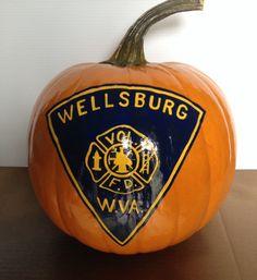Wellsburg VFD pumpkin Firefighter Halloween, Painted Pumpkins, Pumpkin Carving, Hand Painted, Painted Gourds, Pumpkin Carvings