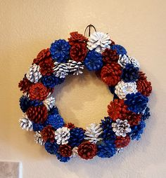 of July Wreath made with pine cones Pine Cone Art, Pine Cone Crafts, Pine Cones, Wreath Crafts, Pine Cone Decorations, 4th Of July Decorations, Patriotic Wreath, 4th Of July Wreath, Summer Wreath