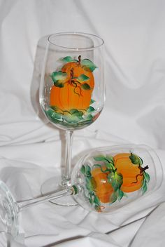Pumpkin Wine Glasses  hand painted  set of 2 by glasschris on Etsy, $25.00