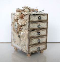 Not a tutorial but this is 5 match boxes attached together and decorated.