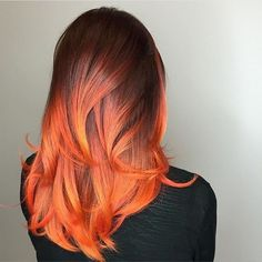 37 Hottest Ombré Hair Color Ideas of 2019 - Style My Hairs Grey Balayage, Orange Ombre Hair, Red Ombre, Cabelo Ombre Hair, Cheveux Oranges, Natural Hair Styles, Short Hair Styles, Fire Hair, Fire Ombre Hair