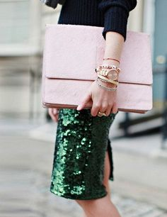 Holiday Sparkle | Emerald Green Sequin Skirt | Image via Elle UK