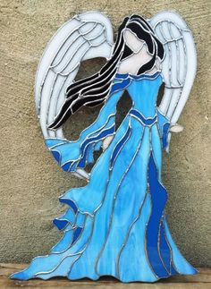 Stained Glass Panel Lady Angel D-6 by TerrazaStainedGlass on Etsy