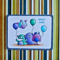"""A birthday card using the """"Monsters"""" stamp set from """"Avery Elle""""."""