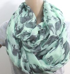 OMG! I need this!!!!   Mint Green Elephant Infinity Scarf Silky Loop by LemniscateAddict, $28.99