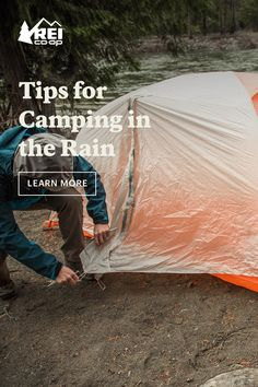 There's no need to let a little rain ruin your camping fun. Here are our top tips for camping in the rain, whether you're backpacking, car camping or setting a tent up in your backyard. Camping In The Rain, Camping And Hiking, Camping With Kids, Camping Life, Family Camping, Tent Camping, Camping Gear, Outdoor Camping, Backpacking