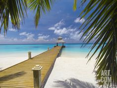 Jetty Leading Out to Tropical Sea, Maldives, Indian Ocean, Asia Photographic Print by Sakis Papadopoulos at Art.com