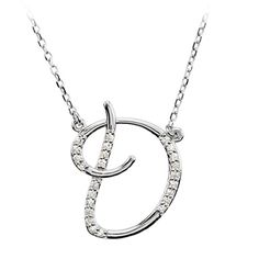 Diamond Script Initial Necklace in 14K White Gold, Letter D, Women's