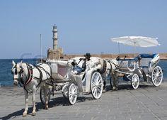 Weisse Kutsche am Hafen in Chania Stock Foto, Photos, Photomontage, Spain, Pictures