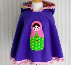 Russian Matryoska Doll Poncho with Hood in Purple and Pink - Size 7/8, 9/10, 11/12 - by The Trendy Tot