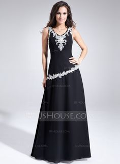 A-Line/Princess V-neck Floor-Length Chiffon Mother of the Bride Dress With Lace (008005622)
