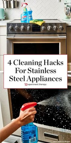 Here are 4 cleaning tips you need to know if you have stainless steel appliances. #stainlesssteel #cleaningtips #cleaninghacks #steelappliances #cleankitchen #kitchenhacks #cleanoven #cleanfridge Diy Home Cleaning, Household Cleaning Tips, Oven Cleaning, Cleaning Checklist, House Cleaning Tips, Cleaning Hacks, Cleaning Stainless Steel Appliances, Stainless Steel Cleaner, Kitchen Appliances