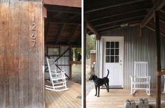 Love the rustic wood and corrugated metal (and the mod house numbers!)