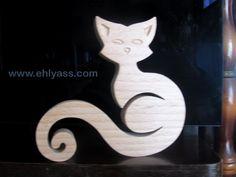 Sculpture en bois Chat 5 en chantournage