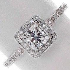 Princess cut diamond halo engagement ring - i am in love @savannahjayd make sure my future husband sees this lol