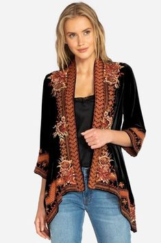 Shop Johnny Was for the latest boho chic clothes and vintage-inspired styles. Browse our maxi dresses, peasant tops, tunics, and more. Bohemian Style, Boho Chic, Johnny Was Clothing, Velvet Drapes, Drape Cardigan, Velvet Cardigan, Mode Boho, Embroidered Jacket, Boho Outfits